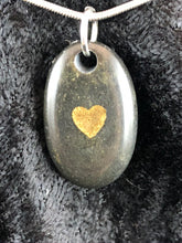 Basalt Sand Carved Golden Heart Focal Bead Necklace