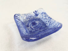 "Small Fused Glass Bowl - ""Blue Imprint Circle Grid"""