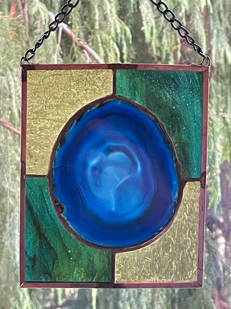 Stained Glass Brazilian Agate Sun Catcher - Medium
