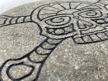 """Skull and Crossbones"" - Sand Carved Stone"