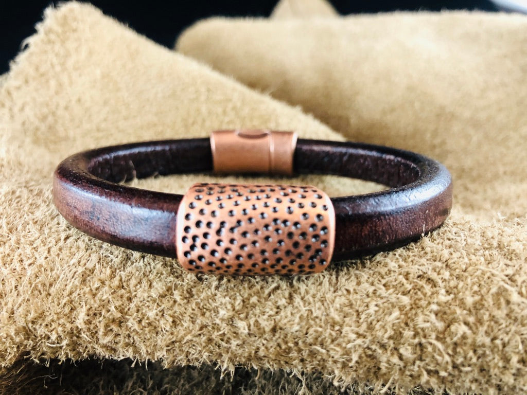 Distressed Brown Leather Bracelet with Hammered Dots in Copper Slider