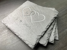 Custom Engraved Initialed Love Hearts with Date - Slate Coasters