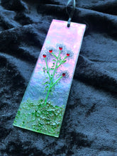 "Fused Glass Sun Catcher - ""Plumb Colored Bush Flowers"""