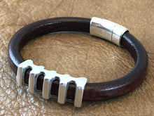 Leather Bracelet with Antique Silver Ladder Slider