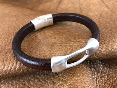Leather Bracelet with Antique Silver Bridge