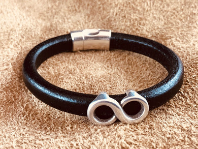 Black Leather Bracelet with Infintiy Anique Sterling Silver Slider