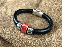 Black Leather Bracelet with Red Ceramic Bead Slider and Antique Sterling Silver Daisies