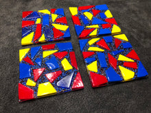 Fused Glass Coaster - Spread View - Red, Yellow, and Blue