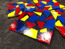 Fused Glass Coaster -Bottom View - Red, Yellow, and Blue