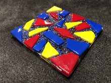 Fused Glass Coaster - Circus Theme - Red, Yellow, and Blue