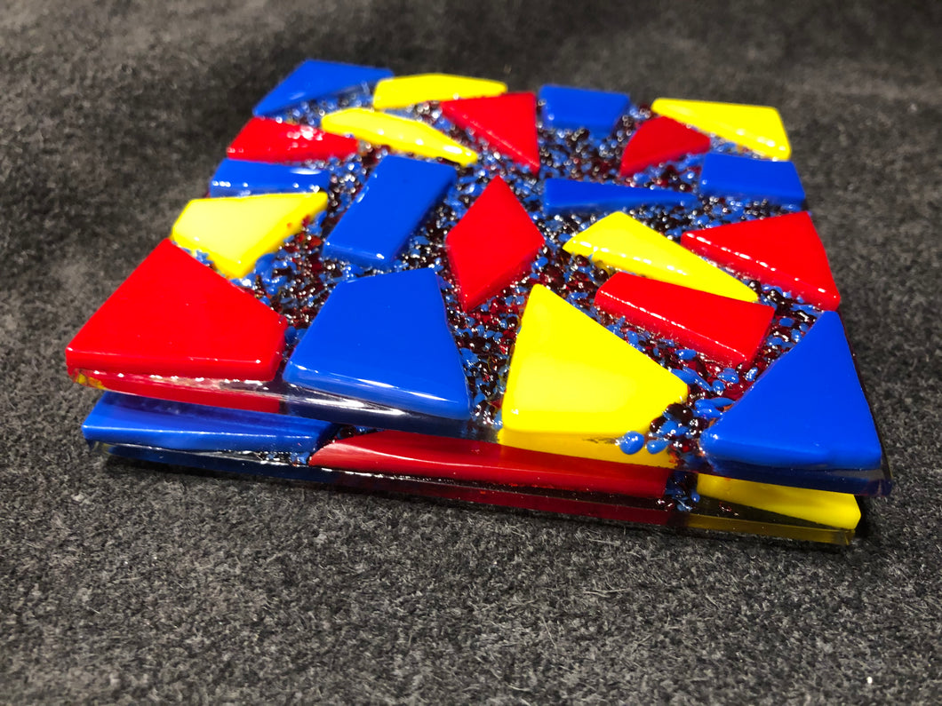 Fused Glass Coaster - Circus Theme - Red, Yellow, and Blue - Set of 2