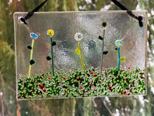 "Fused Glass Sun Catcher - "" Flowers in the Meadow"""