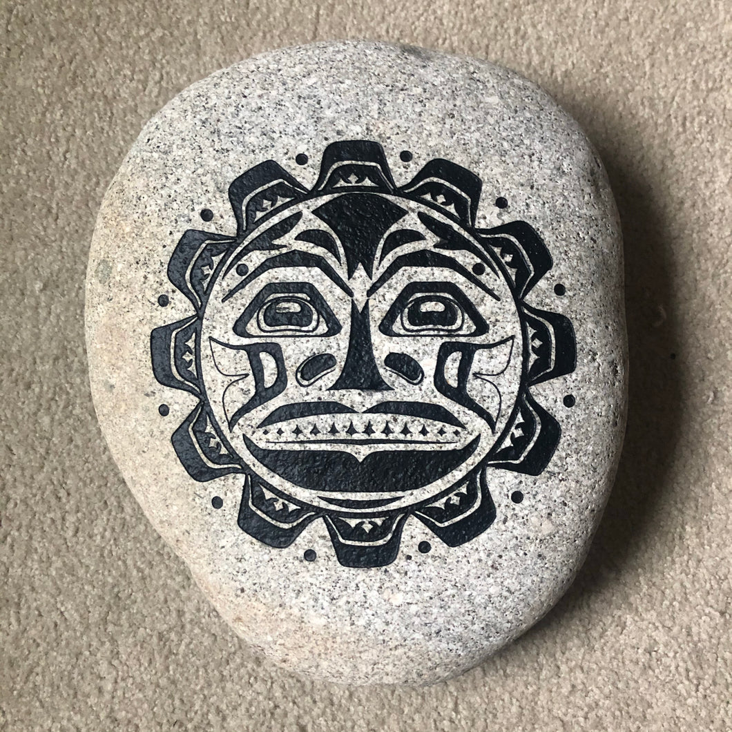 Pacific Northwest Tribal Sun - Sand Carved Stone - Large 12