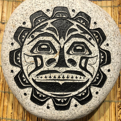 Pacific Northwest Tribal Sun - Sand Carved Stone