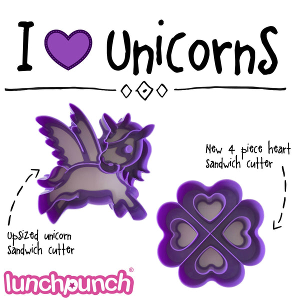 Lunch Punch Sandwich Cutter - I LOVE UNICORNS