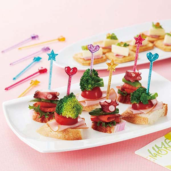 Glitter Heart & Twinkle Star Long Bento Food Picks