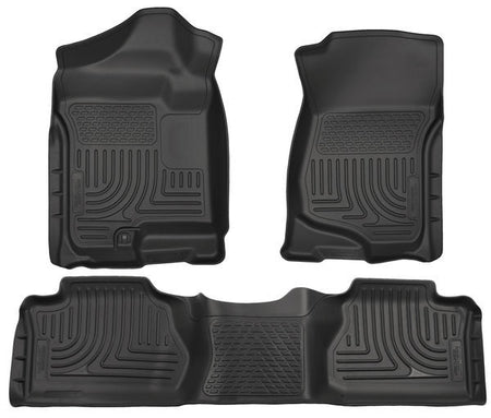 2007-2013 CHEV SILVERADO/ GMC SIERRA FRONT & 2ND SEAT FLOOR LINERS (FOOTWELL COVERAGE) - BLACK - LMDPERFORMANCE,
