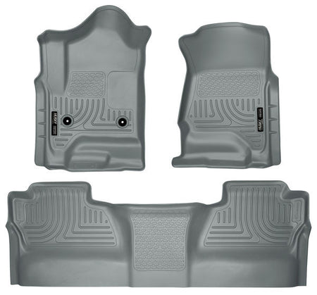 2014-2017 CHEV SILVERADO/ GMC SIERRA FRONT & 2ND SEAT FLOOR LINERS (FOOTWELL COVERAGE) - GREY - LMDPERFORMANCE,
