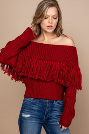 RED OFF THE SHOULDER FRINGE KNIT SWEATER