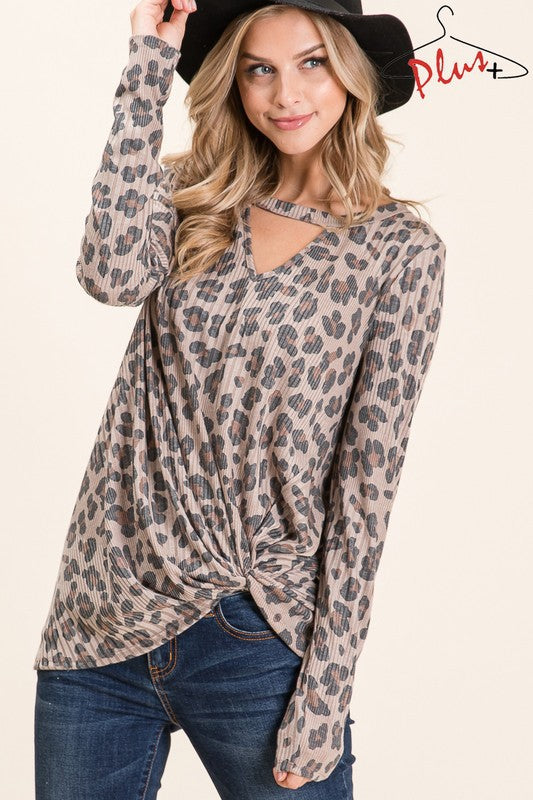 LEOPARD KEYHOLE TWISTED TUNIC TOP