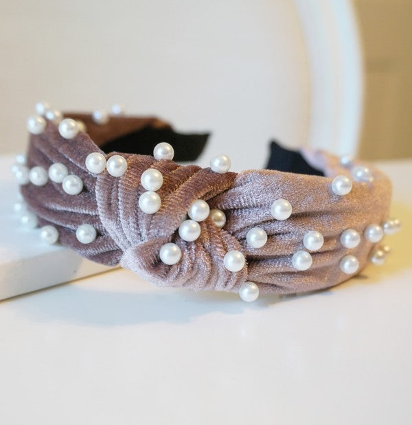 Dark Blush Velvet Pearl Top Knot Headband