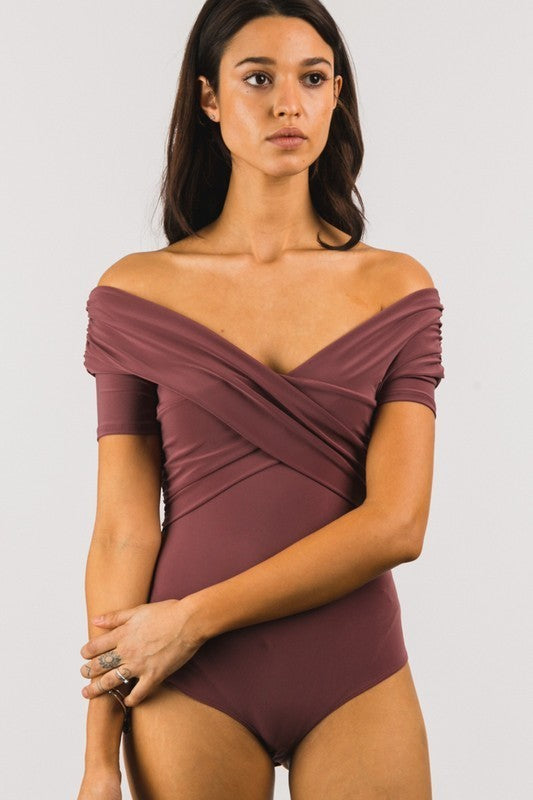 DARK MAUVE OFF THE SHOULDER WRAP BODYSUIT