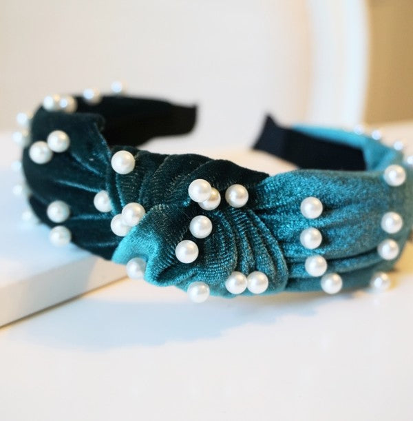 Emerald Green Velvet Pearl Top Knot Headband