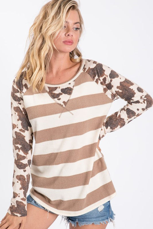 MOCHA STRIPE HACCI TOP WITH COW PRINT SLEEVES