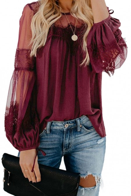 SHEER WINE LACE TOP