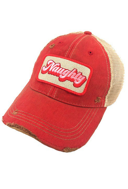 NAUGHTY PATCH HAT - RED