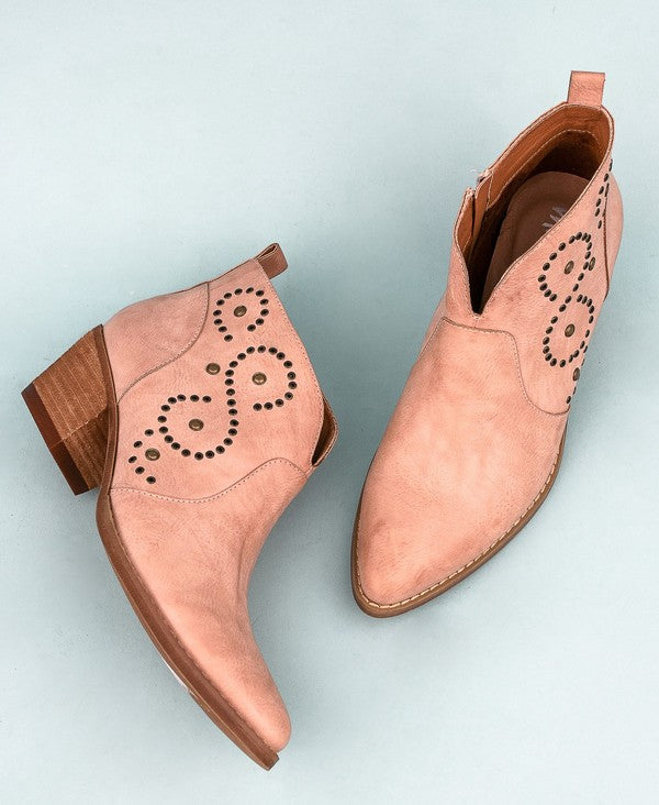 ROSE WESTERN ANKLE BOOTIES