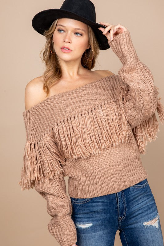 TAUPE OFF THE SHOULDER FRINGE KNIT SWEATER