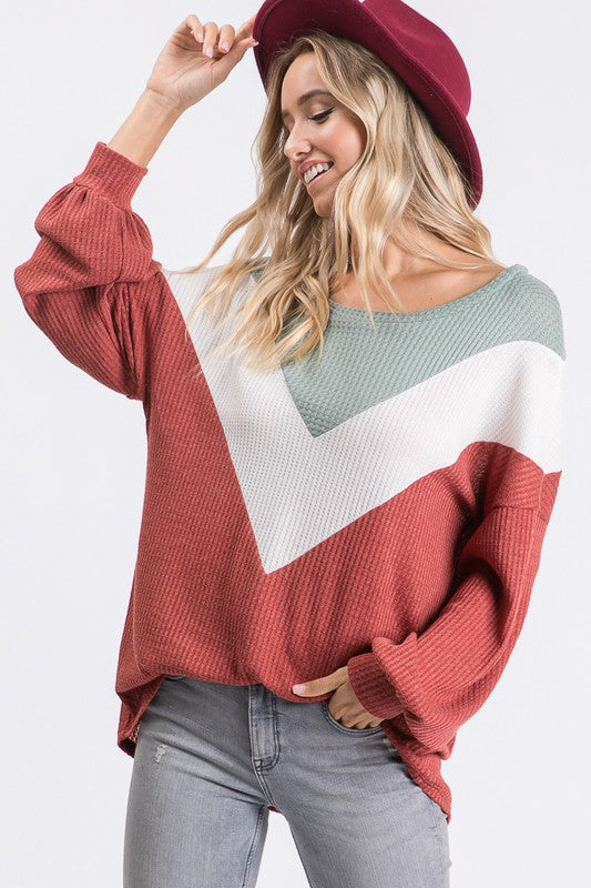 RUST & SAGE THERMAL COLOR BLOCK TOP