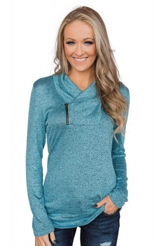 SKY BLUE ZIPPER PULLOVER TOP