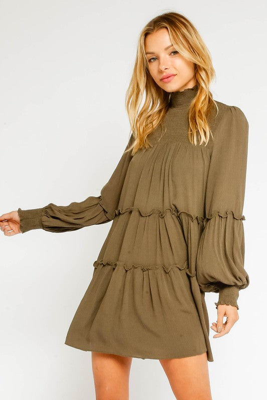 OLIVE BABYDOLL DRESS