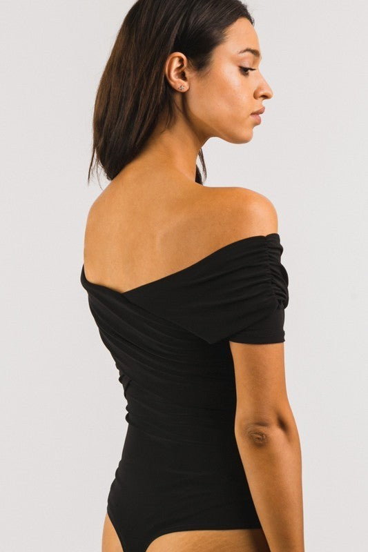 BLACK OFF THE SHOULDER WRAP BODYSUIT