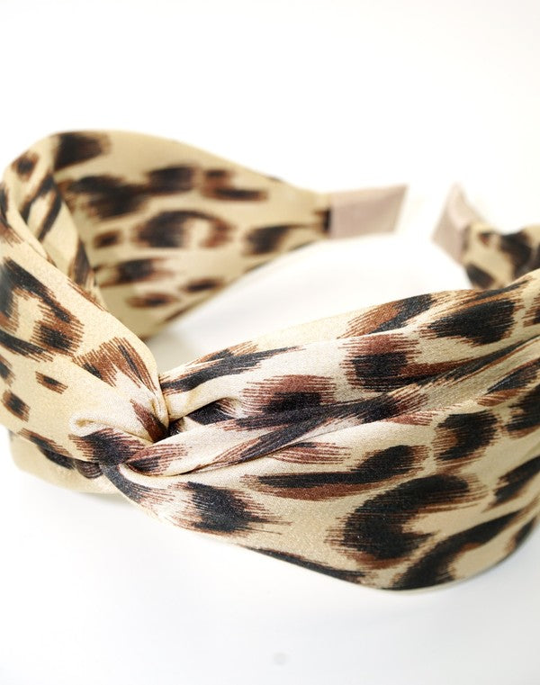 IVORY TOP KNOTTED LEOPARD HEADBAND