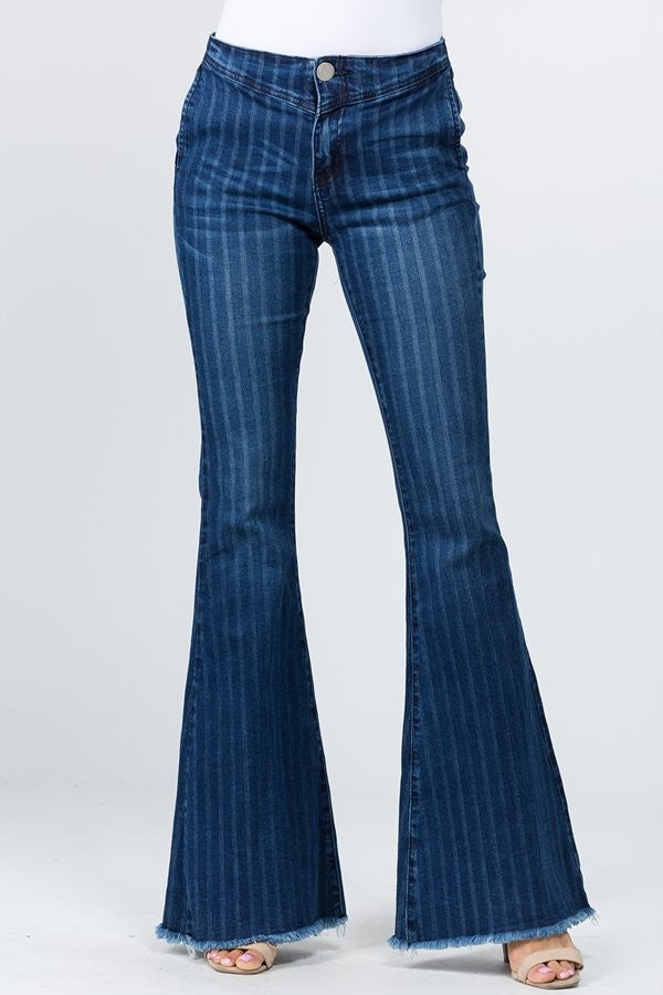 STRIPED PATTERN FLARED DENIM