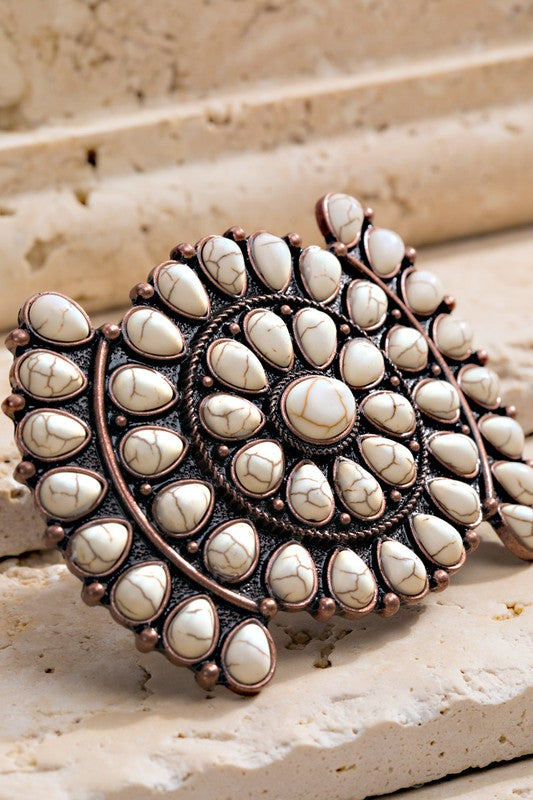 WHITE CIRCLE BLOSSOM STONE HAIR CLIP