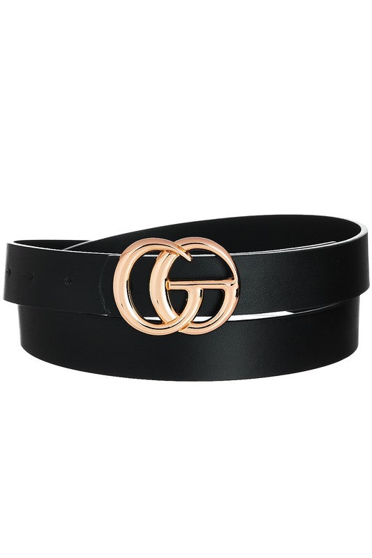 DOUBLE RING BUCKLE BELT - BLACK