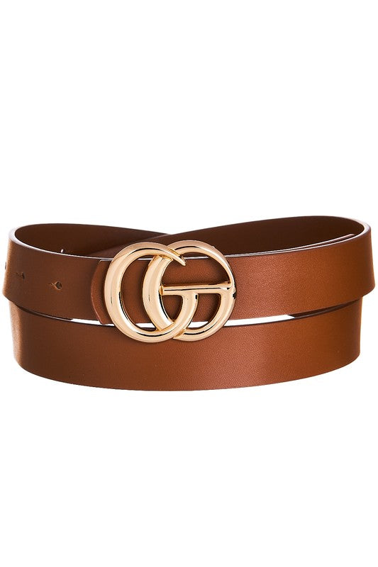 DOUBLE RING BUCKLE BELT - TAN