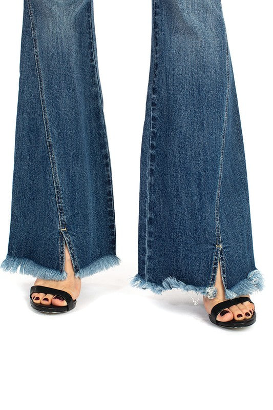 3 BUTTON FRAYED FLARES