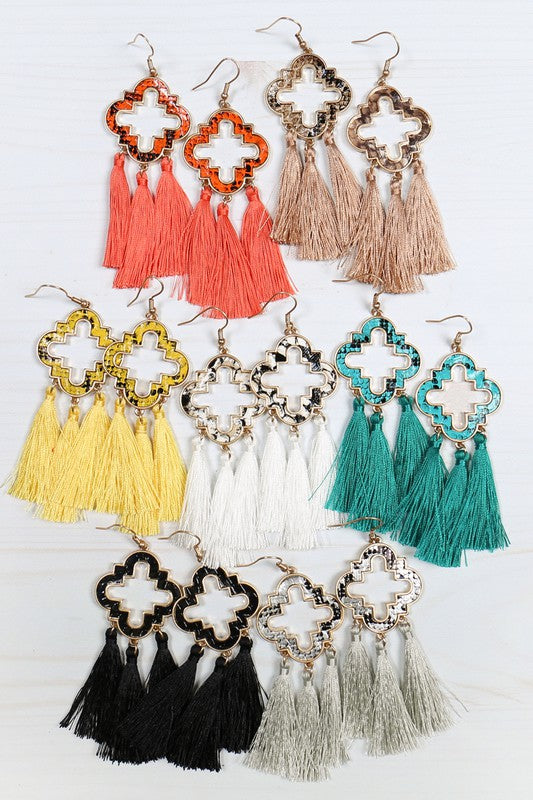 THREE TASSEL DROP HOOK EARRINGS