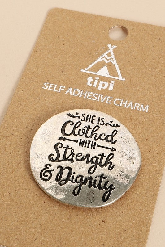 STRENGTH AND DIGNITY - SILVER PLATED PHONE GRIP