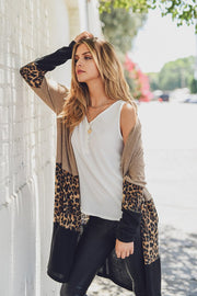 TAUPE CONTRAST CASHMERE BRUSHED KNIT CARDIGAN