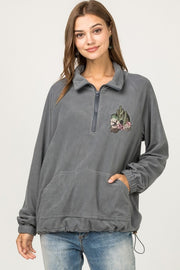CHARCOAL QUARTER ZIP PULLOVER CACTUS EMBROIDERY