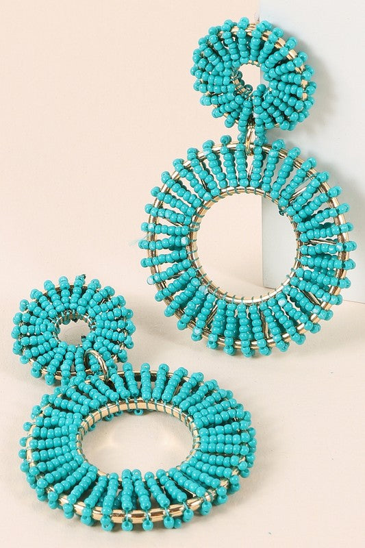 TURQUOISE DOUBLE ROUND DANGLING EARRINGS
