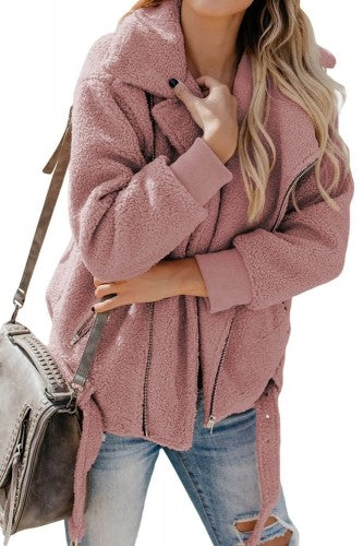 DUSTY PINK SHERPA MOTO JACKET