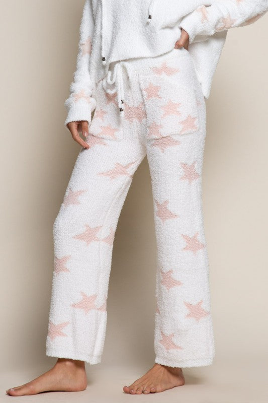 WHITE/PINK STAR PANTS