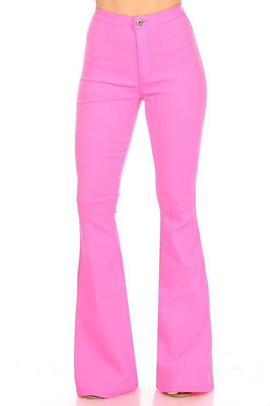 SPANKY STRETCH FLARE JEANS NEON PINK
